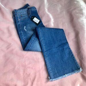 Just Black Denim Distressed Hem Boot Cut Jeans